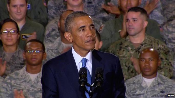 Tổng thống Mỹ Barack Obama tuyên bố không đổ bộ vào Iraq. Ảnh: APTN