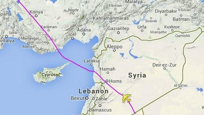 Lộ trình bay của hãng MAS chuyển hướng từ Ukraine sang Syria. Ảnh: Flightradar24