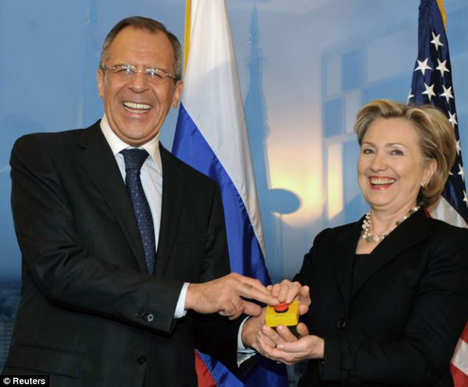 Naive? Russian Foreign Minister Sergei Lavrov pressed a red prop reset button along with then- U.S. Secretary of State Hillary Clinton in March 2009, but the two countries relations are now at a post-Cold War low