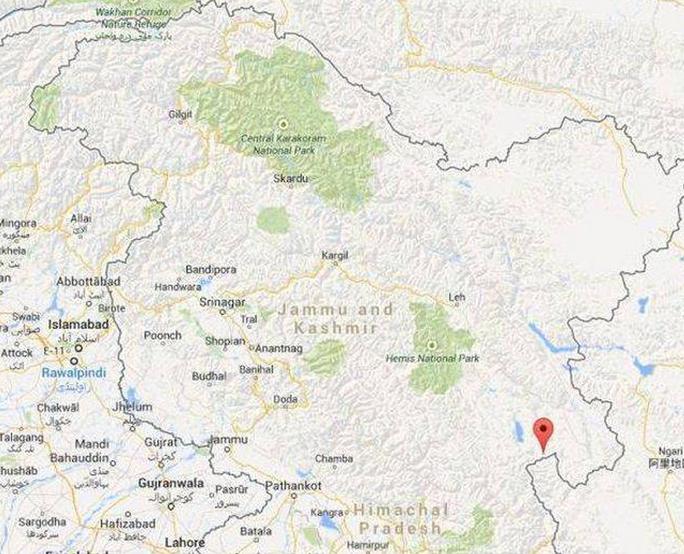 Khu vực Chumar đang tranh chấp (đánh dấu đỏ). Ảnh: Google Map