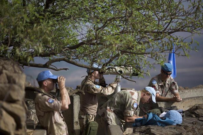 Lực lượng giám sát UNDOF của LHQ tại cao nguyên Golan hôm 29-8. Ảnh: AP
