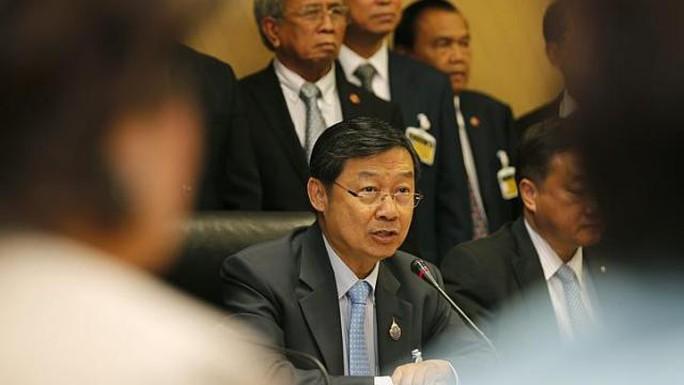 Tân Chủ tịch Thượng viện Thái Lan Surachai Liangboonlertchai phát biểu tại Tòa nhà Quốc hội ở Bangkok hôm 16-5. Ảnh: EPA