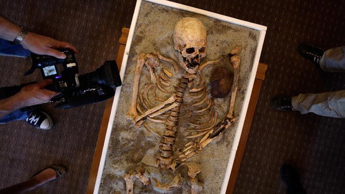 Một bộ xương ma cà rồng trưng bày tại Viện Bảo tàng Lịch sử Quốc gia (NHM) ở thủ đô Sofia - Bulgaria. Ảnh: Reuters