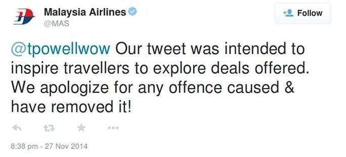 Thông điệp xin lỗi của MAS trên Twitter. Ảnh: Daily Mail