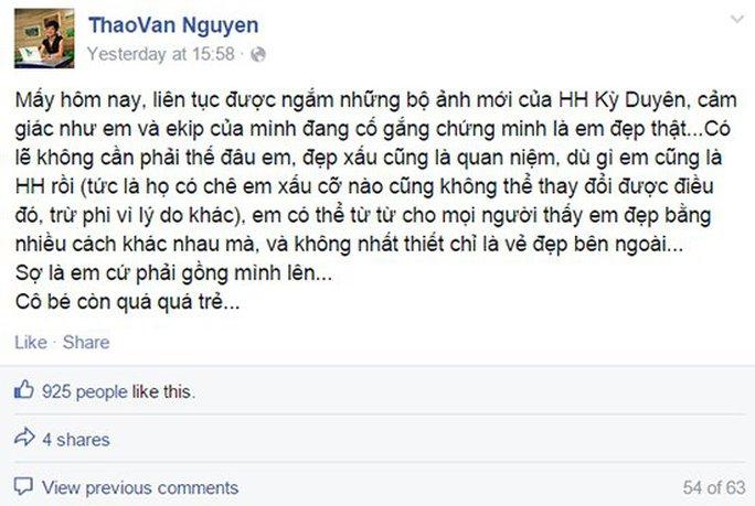 Ồn ào MC Thảo Vân bị phản pháo vì khuyên Kỳ Duyên