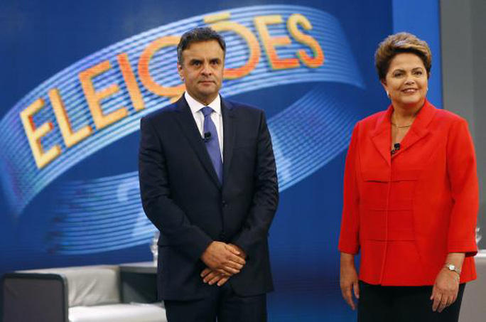 Ông Aecio Neves (trái) thất bại với số phiếu chênh lệch không nhiều. Ảnh: Reuters