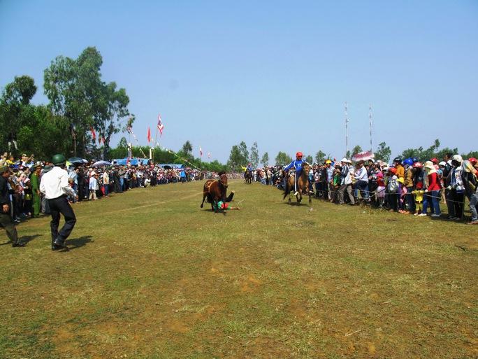 Kỵ sĩ té lăn trên trường đua.