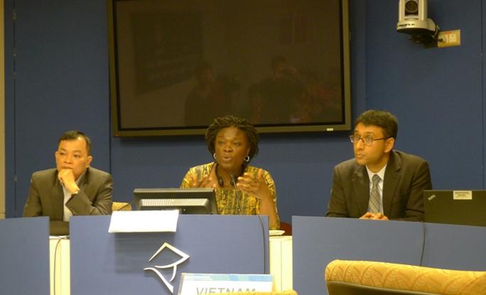 Bà Victoria Kwakwa, Giám đốc Quốc gia của WB tại Việt Nam, tại buổi họp bảo