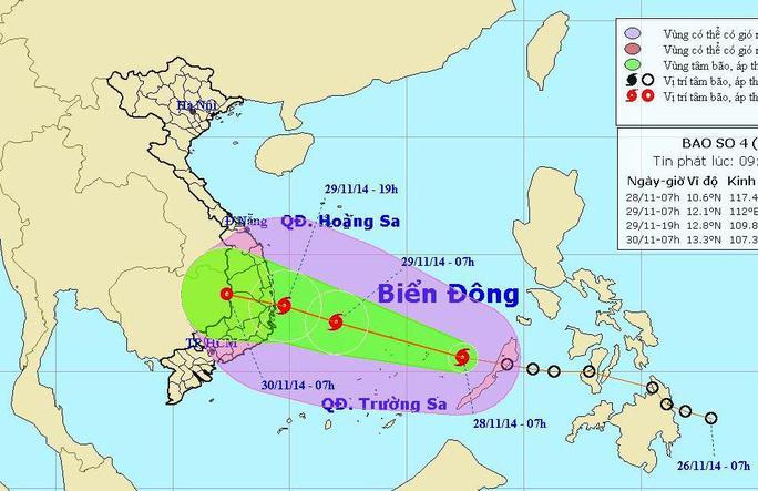 Vị trí và dự báo đường đi của cơn bão số 4. Nguồn: Trung tâm dự báo khí tượng thuỷ văn Trung ương