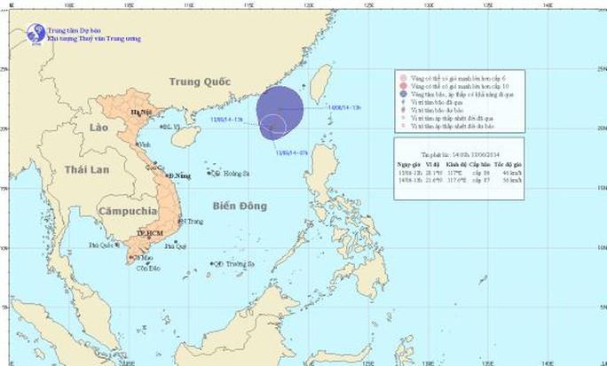 Vị trí cơn áp thấp nhiệt đới trên biển Đông