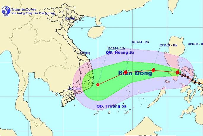 Vị trí và dự báo đường đi của bão Hagupit. Ảnh: Trung tâm Dự báo khí tượng Thuỷ văn Trung ương