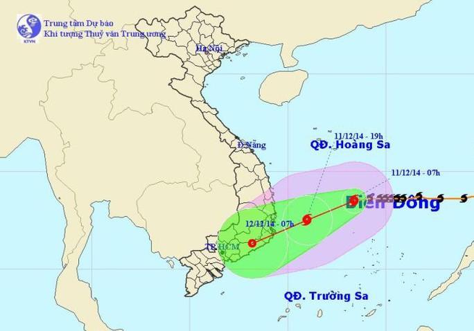 Vị trí và dự báo đường đi của bão số 5 (bão Hagupit). Nguồn: trung tâm Dự báo khí tượng thuỷ văn Trung ương