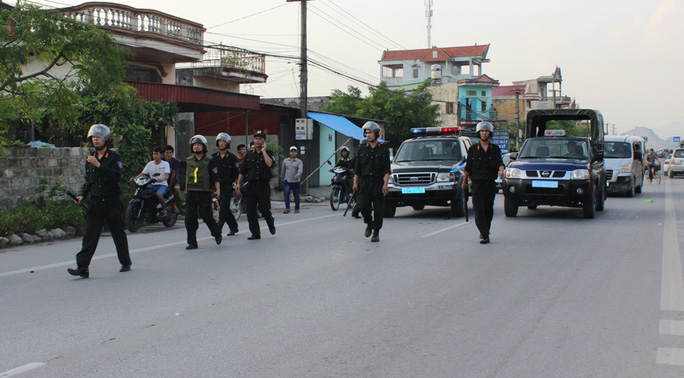 Lực lượng công an triển khai nhằm đảm bảo an ninh trật tự