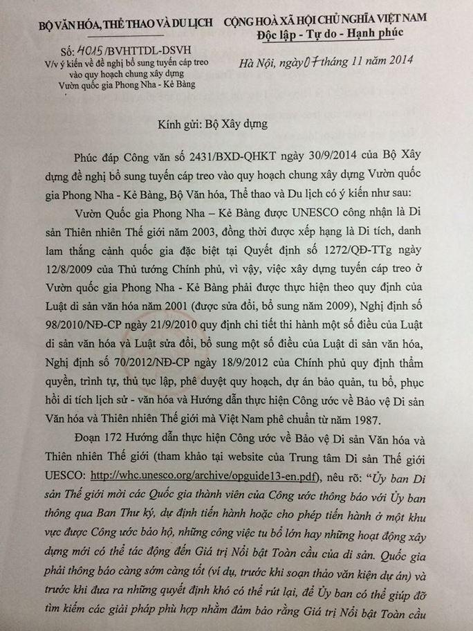 Công văn Bộ VH-TT-DL trả lời Bộ Xây dựng, từ chối bổ sung cáp treo Sơn Đoòng vào quy hoạch xây dựng Vườn quốc gia Phong Nha - Kẻ Bàng