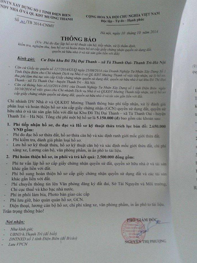 Văn bản của Doanh nghiệp tư nhân xây dựng số 1 tỉnh Điện Biên yêu cầu cư dân sinh sống tại khu đô thị Đại Thanh phải nộp trên 5 triệu đồng mới được cấp sổ đỏ. Ảnh: H.N