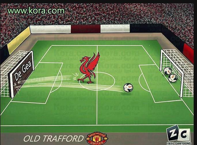 Thủ môn M.U như bức tường vững chắc khiến pPhượng hoàng lửa Liverpool sút vào, bóng đều nẩy ra trở lại và văng vào lưới của chính họ
