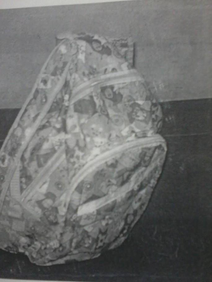 Chiếc ba lô mà sản phụ L. Th. P. T dùng để bỏ bé sau khi đẻ rơi tại bến xe buýt