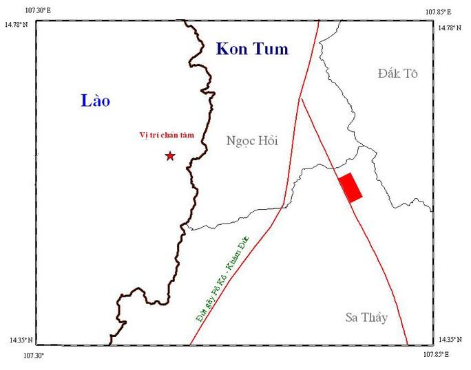 Trận động đất xảy ra ở biên giới Lào và tỉnh Kon Tum