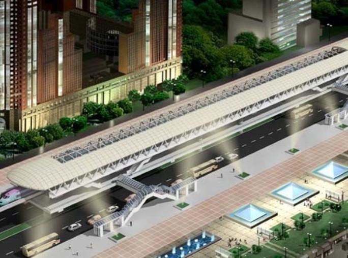 Mô hình phối cảnh nhà ga Long Biên trên tuyến đường sắt đô thị số 1