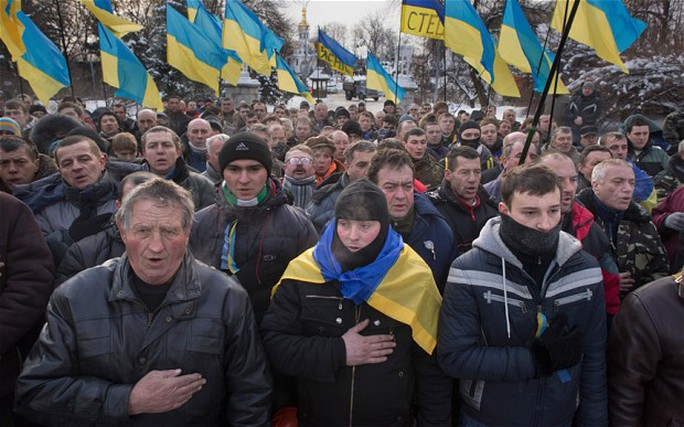 Protesters, some from right-wing radical groups, remained camped out in much of the city centre of Kiev