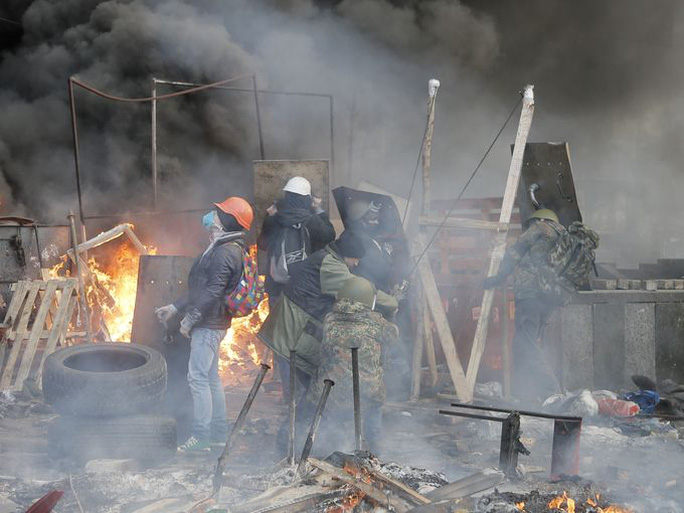 Anti-government protesters use a catapult during clashes with riot police in Kiev on Feb. 19.