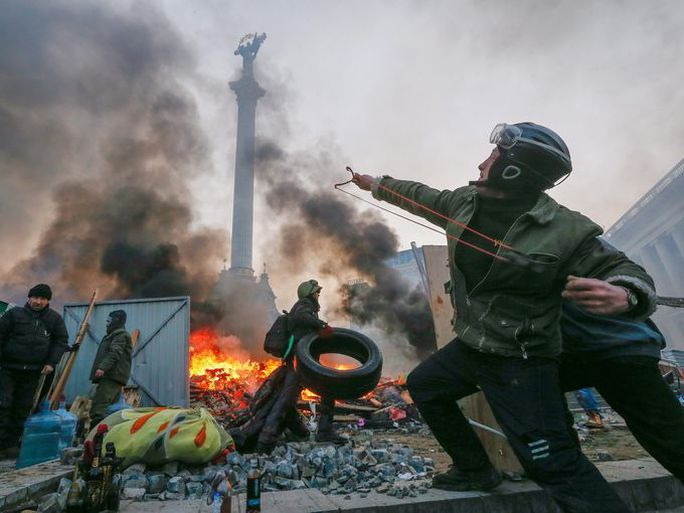 Protesters on the streets of Kiev during clashes with riot police on Feb. 19.