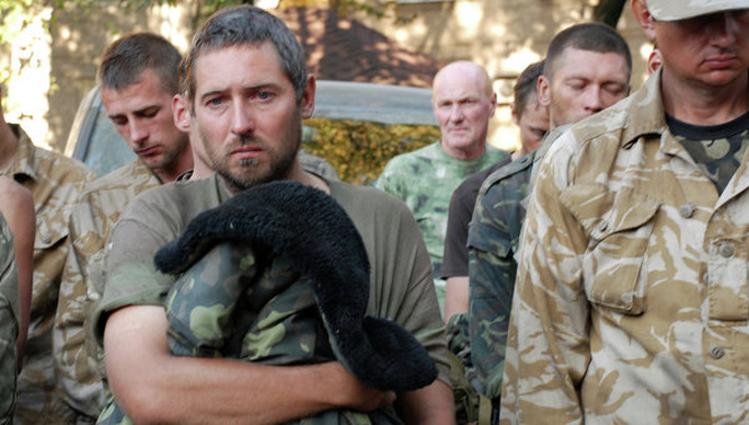 Ukrainian servicemen captured by independence supporters near Ilovaisk in Donetsk Region.