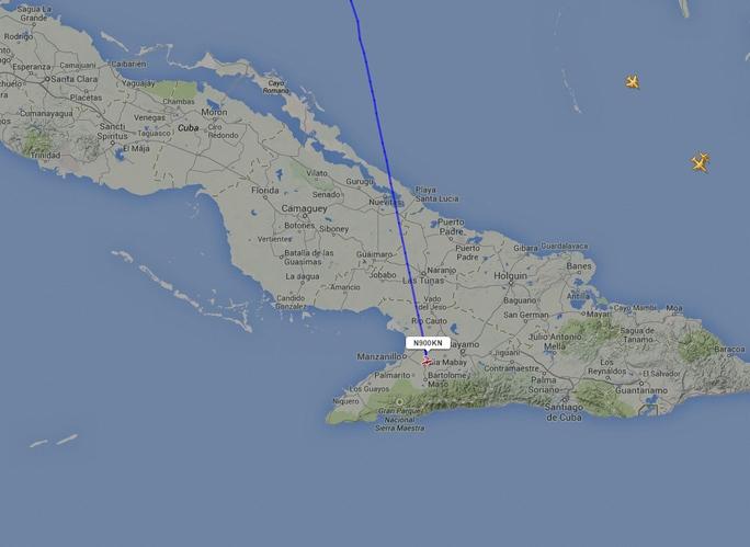 Chiếc máy bay đã xâm phạm không phận Cuba lúc 2 giờ chiều (giờ địa phương) trước khi rơi. Ảnh: Flightradar24.com