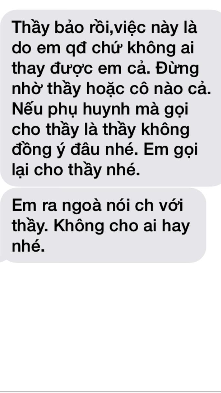 Tin nhắn được cho là từ số máy ông Lợi gửi cho nữ sinh