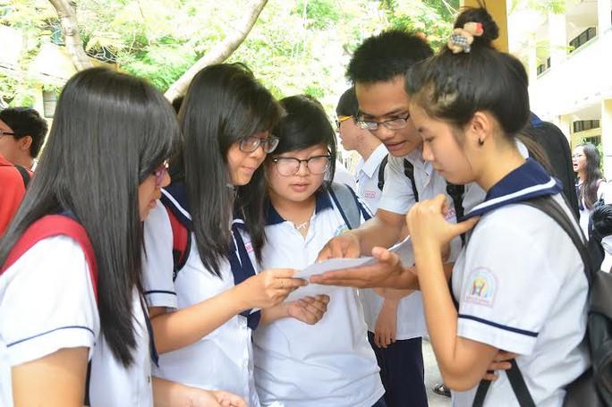 Thí sinh thảo luận sau môn thi Anh văn tại Hội đồng thi Trường THPT Hùng Vương, TP HCM. Ảnh: T. Thạnh