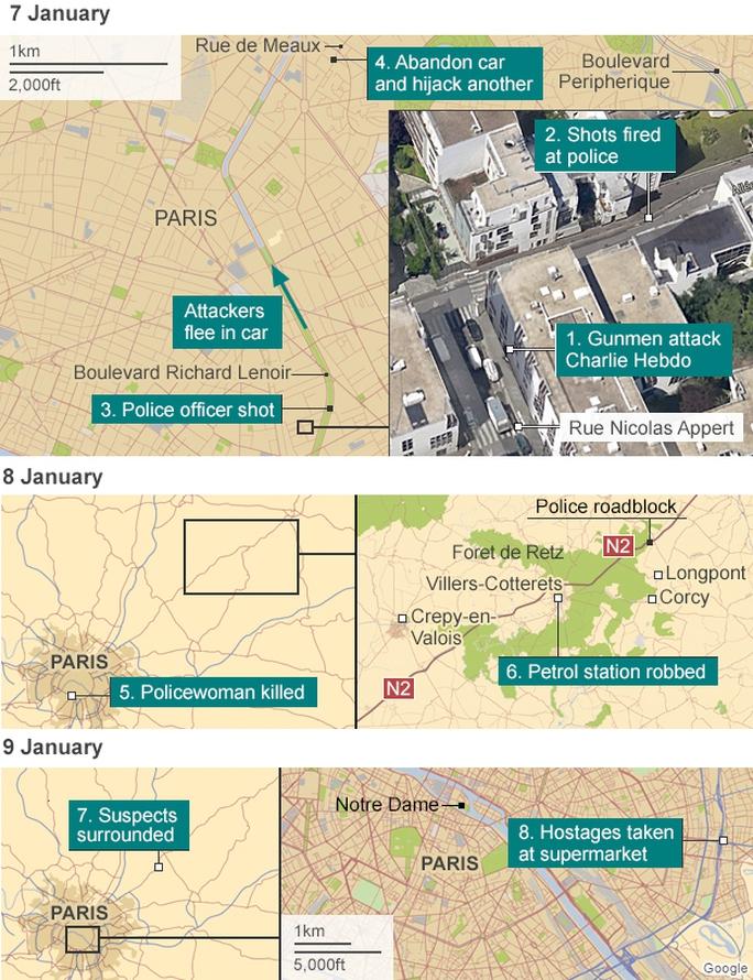 Các điểm nóng xảy ra khủng bố từ ngày 7 đến 9-1 ở Pháp. Ảnh: Google