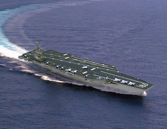 Tàu sân bay Gerald R. Ford của Mỹ được trang bị công nghệ EMALS mà Ấn Độ muốn sở hữu. Ảnh: Nav Source