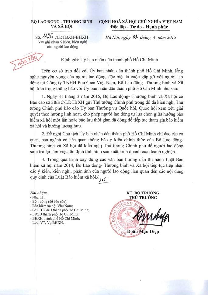 Công văn cùa Bộ LĐ-TB-XH gởi UBND TP  Ảnh: KHÁNH AN