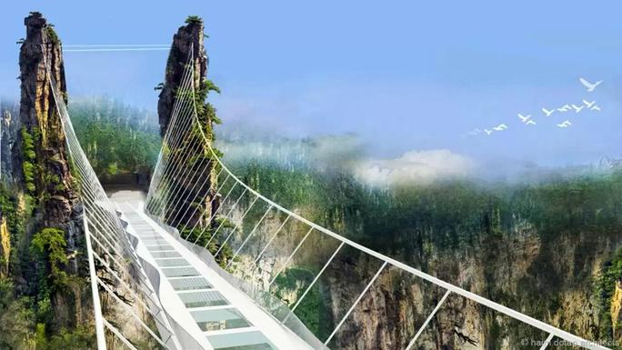 Cây cầu kính sắp đạt kỷ lục thế giới về chiều dài và độ cao ở Trung Quốc. Ảnh: Haim Dotan Architects