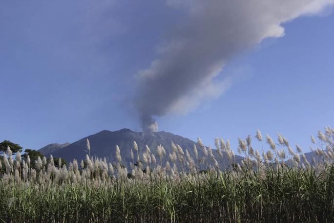 Núi lửa Raung phun tro cách đây 1 tuần. Ảnh: Reuters