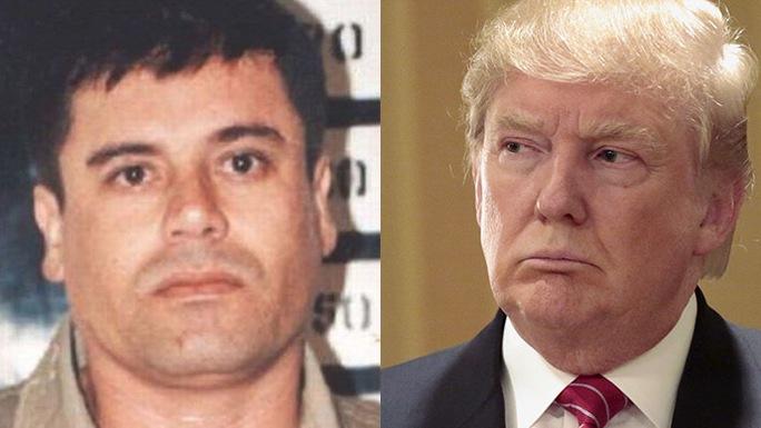 """Trùm ma túy bang Sinaloa của Mexico Joaquin """"El Chapo"""" Guzman (trái) và ứng viên tổng thống Mỹ - tỉ phú Donald Trump. Ảnh: Reuters"""