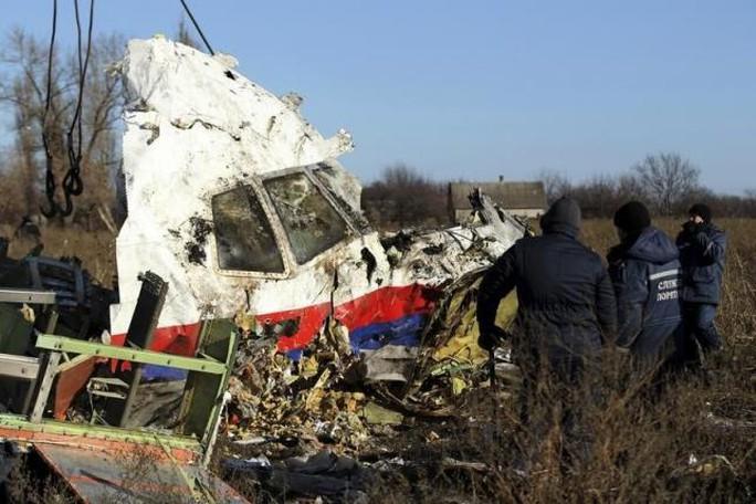 Mảnh vỡ MH17 rơi gần ngôi làng Hrabove ở khu vực Donetsk, miền Đông Ukraine. Ảnh: Reuters