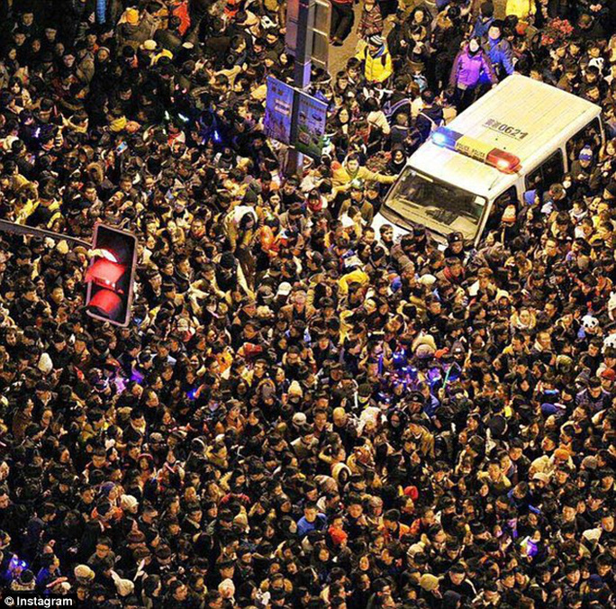 A stampede during Shanghais New Year celebrations has allegedly killed 35 people and injured another 42