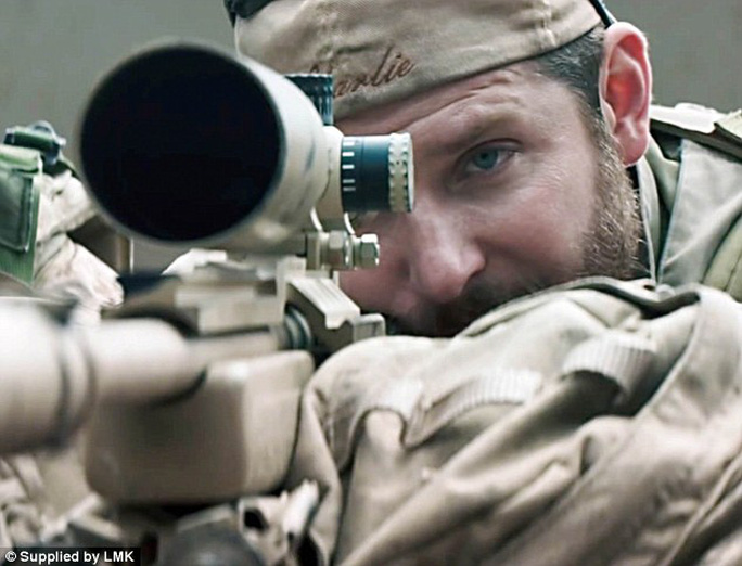 Retaliation: The sniper battalion pictures could be Islamic States attempt to ramp up their own propaganda campaign following the release of the hit US film, American Sniper (pictured), starring Bradley Cooper