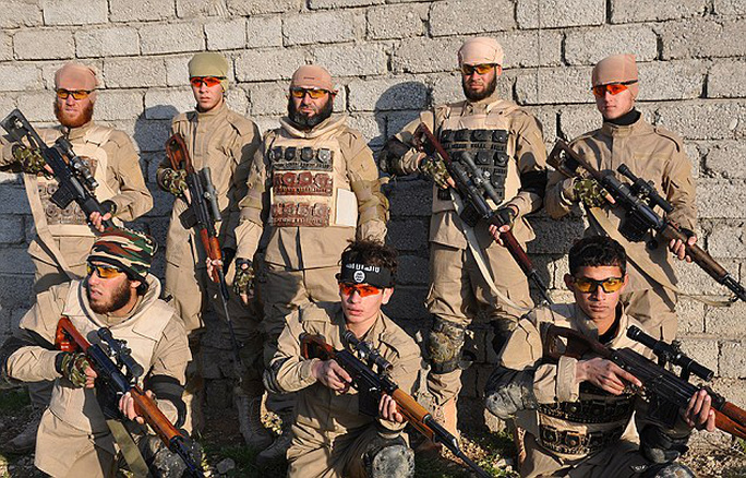 Islamic State: The militant group has revealed pictures of its special sniper battalion (pictured)