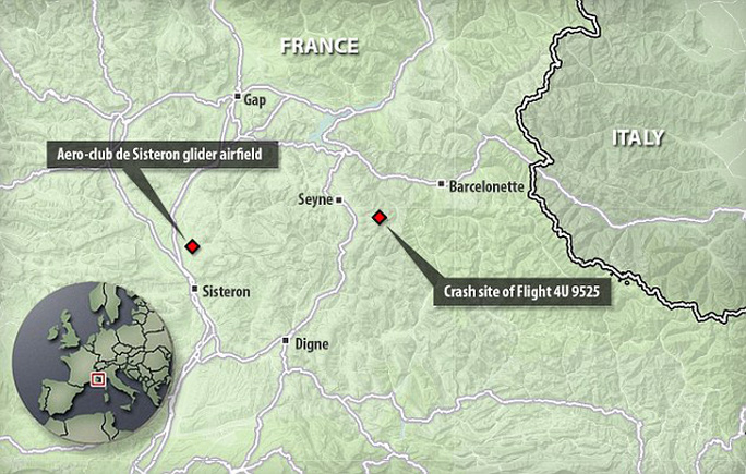 Lubitz brought down the passenger planein the Alpes-de-Haute-Provence on Tuesday. The crash site is just 30 miles from the Aero-club de Sisteron glider airfield, which Lubitz visited regularly as a child with his parents