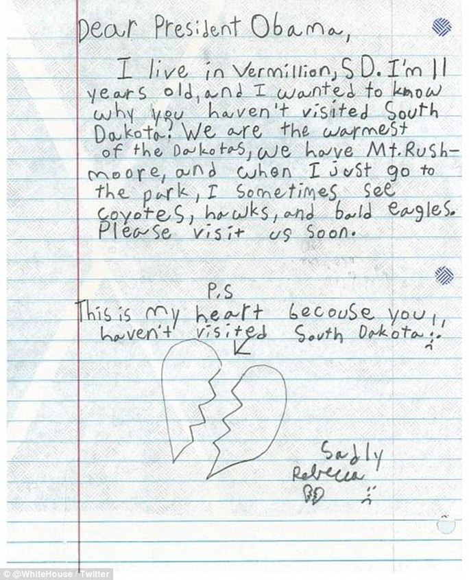 Rebeccas touching letter to the president, urging him to make a visit to her home state. The letter is illustrated with a hand-drawing of Rebeccas broken heart