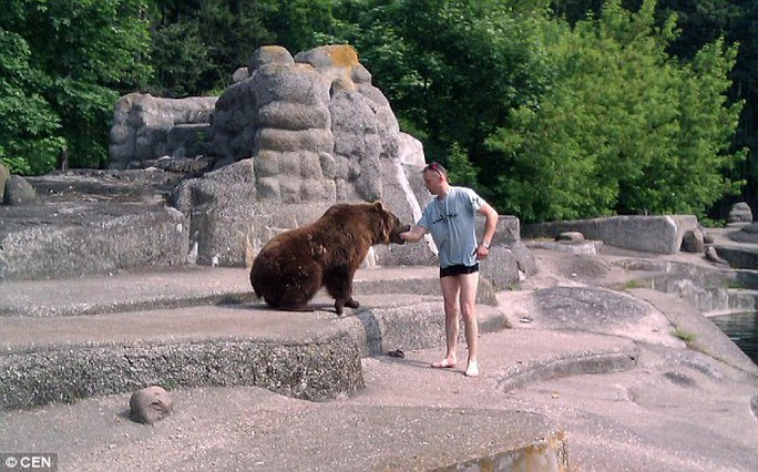 Unsurprisingly, after the man approached the bear, it went to try and bite his arm