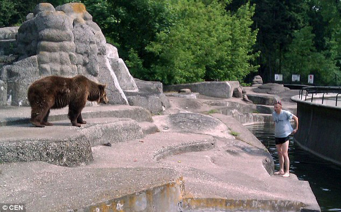 Photographs taken by a witness showed the man climbing into the enclosure at a zoo in Poland