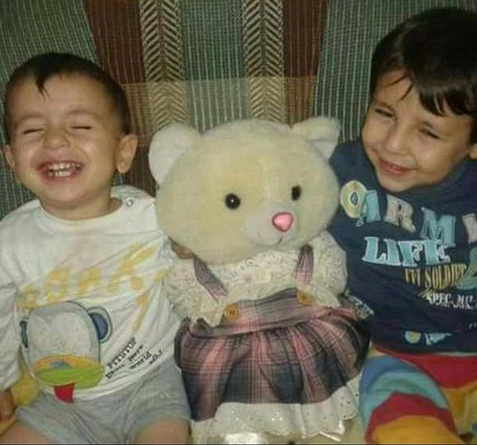 Heartbreaking: The bodies of Aylan, three (left) and his brother Galip, five (right) washed up on the shores of the Mediterranean