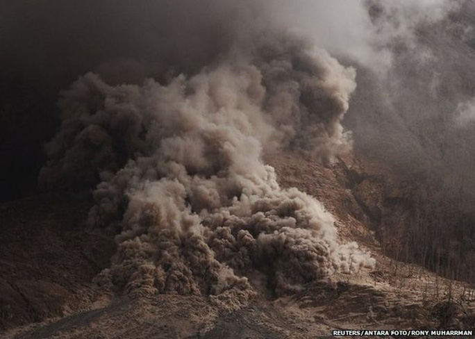 Hot ash as seen during an eruption of Mount Sinabung in Karo Regency, Indonesias North Sumatra province, June 14, 2015