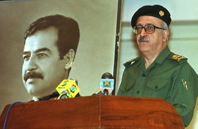 FILE - In this, Saturday, April 15, 2000, file photo, Iraqs Deputy Prime Minister Tariq Aziz addresses journalists in Baghdad, where he said Iraq does not accept a new U.N. Security Council plan to resume weapons inspections in the country. Tariq Aziz, the debonair Iraqi diplomat who made his name by staunchly defending Saddam Hussein to the world during three wars and was later sentenced to death as part of the regime that killed hundreds of thousands of its own people, has died in a hospital in southern Iraq. He was 79. Photo: JASSIM MOHAMMED, AP / AP
