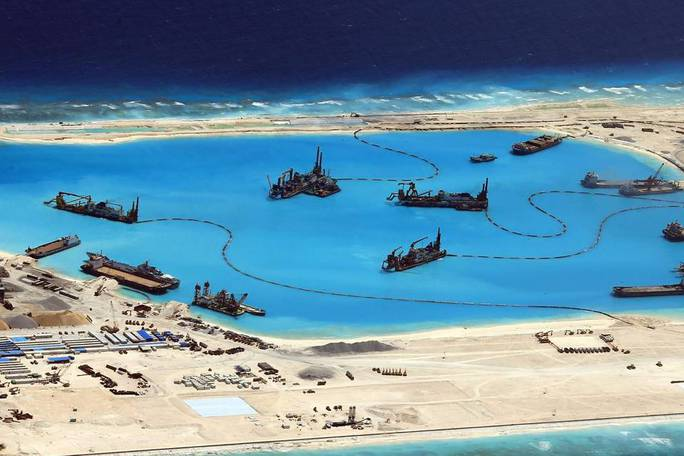 A photo provided by the Philippines last month shows construction by China at a reef in the disputed Spratley Islands in the South China Sea in February.