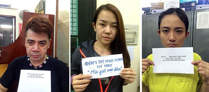 """3 """"má mì"""" bị khởi tố (từ trái qua): Huỳnh Xuân Hùng, Đoàn Thị Ngọc Minh và Trần Đức Thùy Liên"""