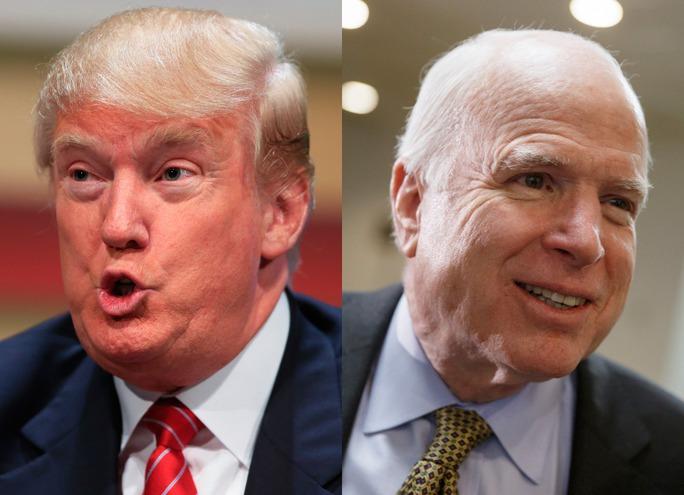 Donald Trump (trái) và John McCain (phải). Ảnh: AP
